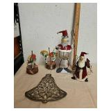 Decorative metal snowman statues with music box
