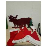 New bear and moose placemats, Santa hats,