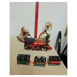 Music box ceramic Santa rocking horse statue with