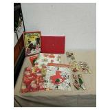 Group of Christmas ornaments, gift wrap and more