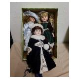 3 collectible porcelain dolls