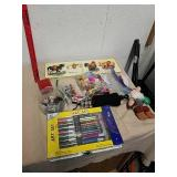 Art set, toy figurines, wood picture puzzle, and