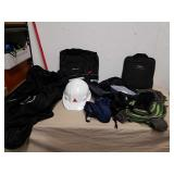 Nike duffel bag, Schwinn backpack, hard hat with