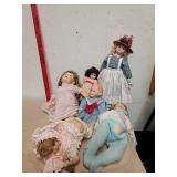 Group of collectible porcelain dolls