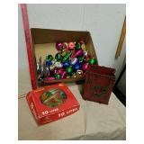 Group of vintage Christmas ornaments and 10 light