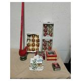 Group of Christmas ornaments with village house,