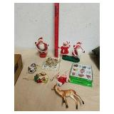 Vintage velvet Santa and mrs. Claus statues with