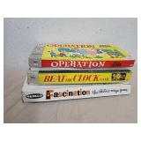 3 vintage board games: operation beat the clock