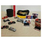 Group of collectible toy cars, John Force fan