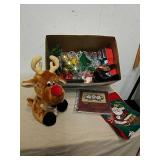 Group of Christmas decor: stuffed reindeer