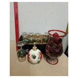 Group of Christmas wine glasses with poinsettia