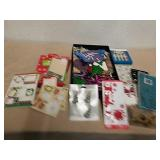 Group of Christmas stickers, bags, ornaments and