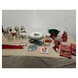 Holiday plates, mugs, drinking glasses with