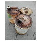 3 vintage metal gas cans