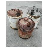 3 vintage gas cans