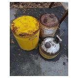 2 vintage metal gas cans and vintage metal bucket