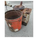 Vintage metal gas can, motor oil can and bucket