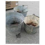 3 vintage metal buckets