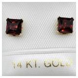 14 K YELLOW GOLD GARNET (0.8 CTS) EARRINGS