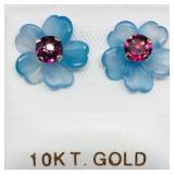 10 K YELLOW GARNET (0.46 CTS) CHALCEDONY FLOWER