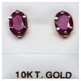 10 K YELLOW GOLD RUBY (1.6 CT) EARRINGS