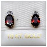 10 K YELLOW GOLD GARNET EARRINGS