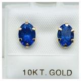 10 K YELLOW GOLD TANZANITE (1.6 CTS) EARRINGS