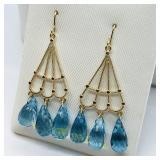 14 K YELLOW GOLD BLUE TAPAZ (8CTS) EARRINGS