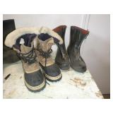TWO PAIRS BOOTS, SIZE 10