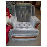 GREY CUSHIONED CHAIR & FOOT STOOL