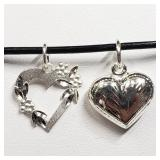 STERLING SILVER 2 HEART PENDANT NECKLACE