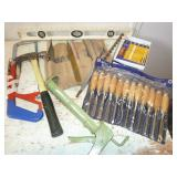 SAWS, LEVEL, CARVING TOOLS (2), HAMMER, ETC