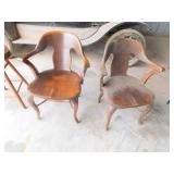 2- old wood bank chairs
