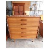 Wood dresser, chest, mirror