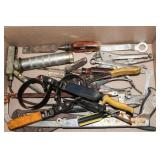 Large channel locks, small grease gun, wrenches