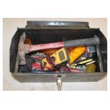 Metal Tool Box - screwdrivers, tester, hammer,
