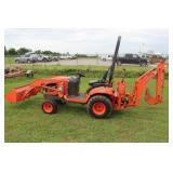 Kubota BX24 4WD Backhoe Loader Tractor!!
