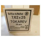 7.62 X 25 AMMO 25 ROUNDS (SELLIER & BELLOT)