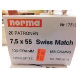 7.5 X 55 SWISS MATCH 20 ROUNDS (NORMA)