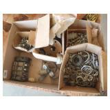 misc electrical parts, beakers, conduit straps