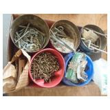 misc screws, staples, lag bolts, cable clamps,