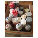 Aerosol paints, mineral spirits, paint