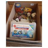first aid kit, plumbing fittings, plug ends, &