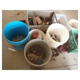 several containers of screws, nails, nuts, bolts,