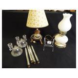 Lamps (2), Glass Candleholders (2)
