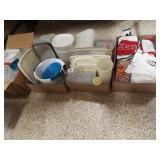 Plasticware, Kitchen Linens - 4 boxes