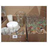 Glasses, Stemware, Pitcher, Dishes - 2 boxes