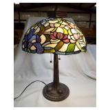Lamp-Metal Base, Stained Glass Type Shade