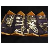 Singer Sewing Machine Parts in Wood Box