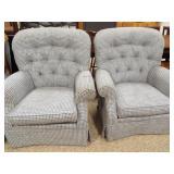 Laz-E-Boy Arm Chairs, blue checked (2)